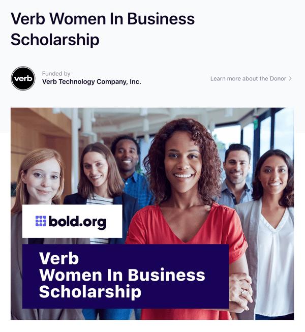 Verb Women in Business Scholarship